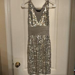 BCBG Silver Sequin Mini Dress